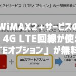 WiMAX2+のau 4G LTEが使える「LTEオプション」が一部無料に!