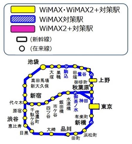 山手線WiMAX2+対応する駅