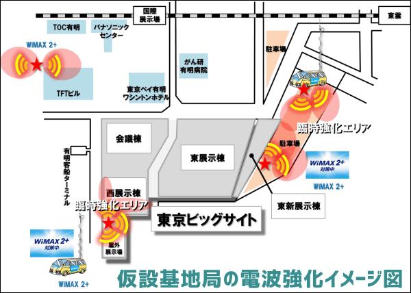 東京ビッグサイトWiMAX2+仮設基地局イメージ図
