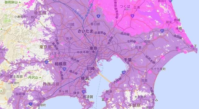 東京エリアWiMAX2+対応エリア2016/10時点