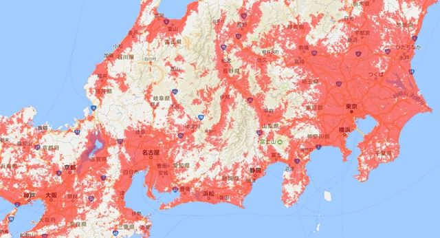 J-WiFi WiMAX対応エリア