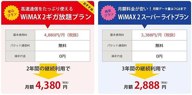 DriveWiMAX2で選べる料金プラン