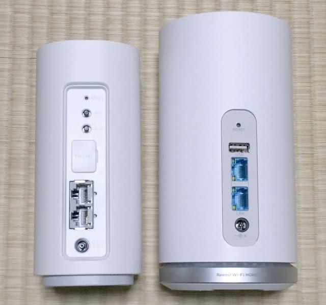 WiMAX HOME 01実物とL01sの背面デザイン比較