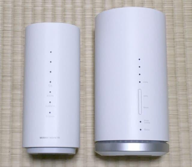 WiMAX HOME 01実物とL01sの正面デザイン比較