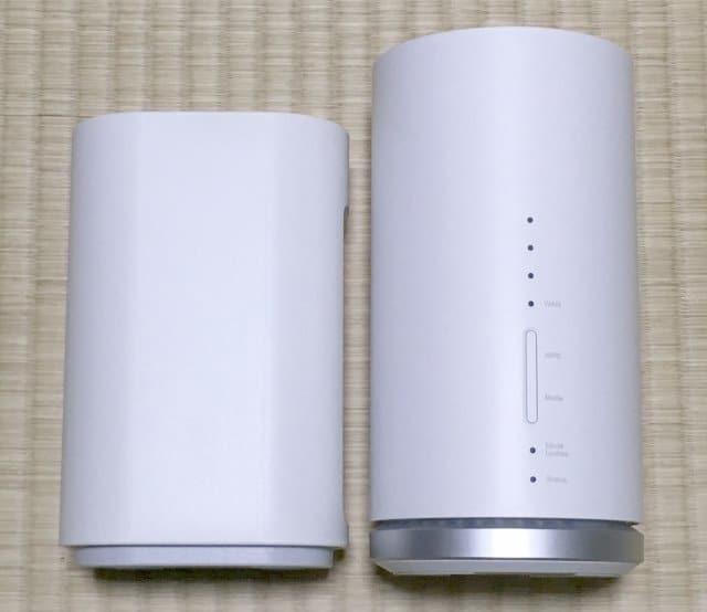 WiMAX HOME 01実物とL01sの側面デザイン比較
