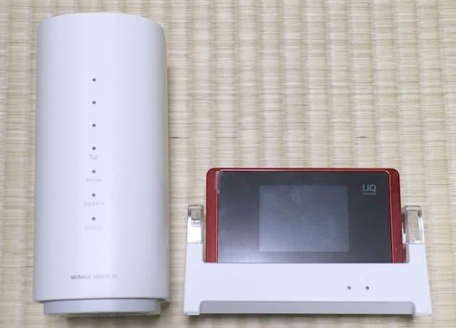 WiMAX HOME 01実物とWX05正面デザイン比較