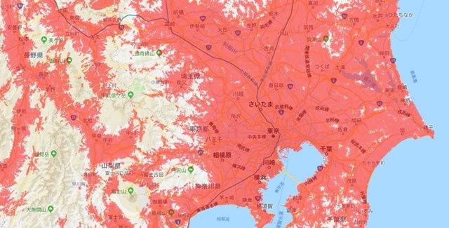WiMAX2+関東の対応エリア