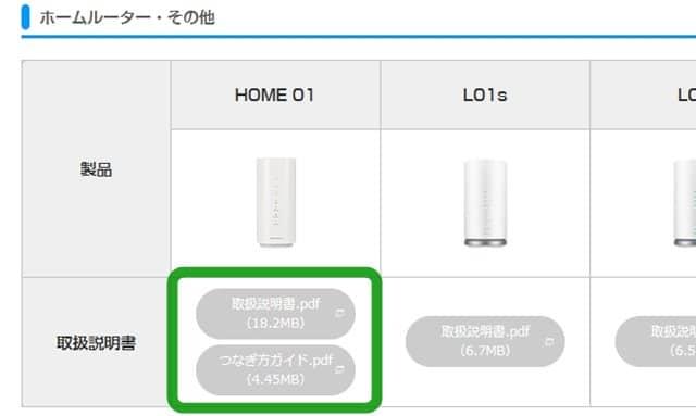 UQWiMAX HOME01取扱説明書PDFファウンロード