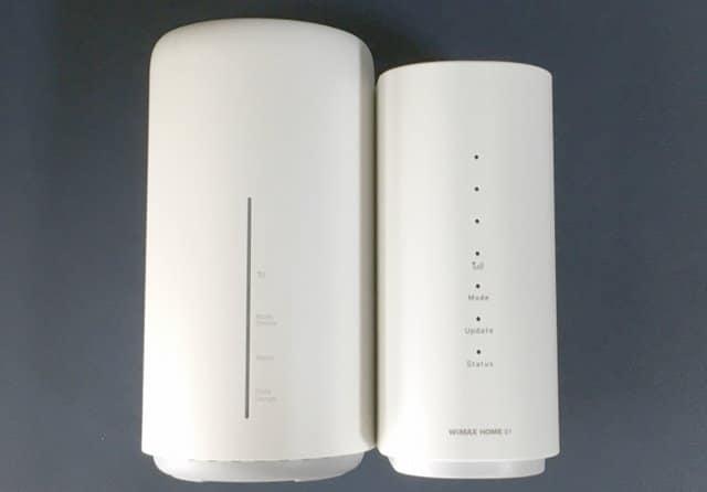 Speed Wi-Fi HOME L02とWiMAX HOME 01の全面画像