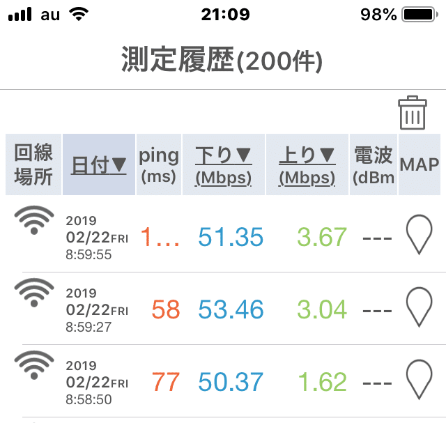 W06成田空港の実測値