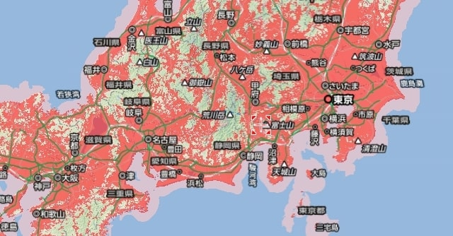 東名阪エリアの801ZT対応エリア