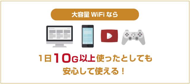 大容量WiFiは1日10GBだって使える