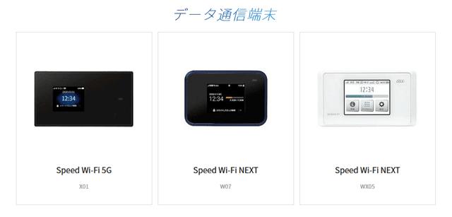 KDDI WiMAXの端末ラインナップ