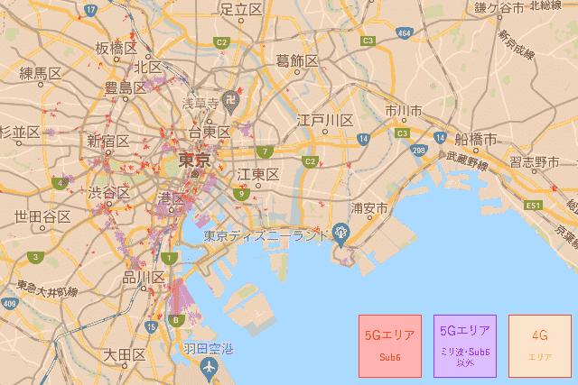 東京のWiMAX5G回線対応エリア